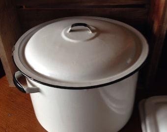 Large lidded Cooking Pot Black Line on White enamel Vintage enamelware enamel cookware