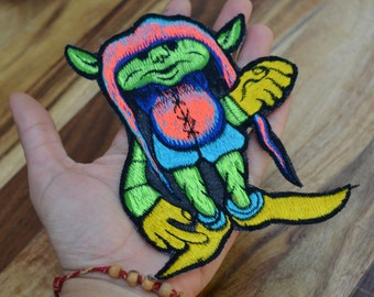 Large green troll patch gnome woodland creature goblin pixie patch sew on bag embellishment enchanted magical hobbit fay faerie handmade
