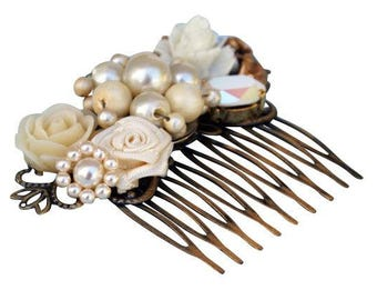 Upcycled Bridal Comb, Wedding Comb, Collage Bridal Comb, Bridal Hair Comb, Wedding Hair Comb