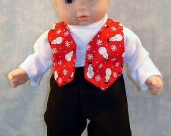 15 Inch Doll Clothes - Snowmen on Red Vest, Pants and Turtleneck Outfit for boy 15 inch baby dolls