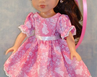 14 Inch Doll Clothes - White Bunnies on Hot Pink Easter Dress and Hat handmade by Jane Ellen