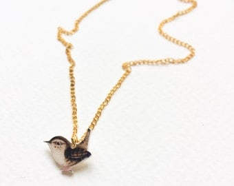 Hand drawn Wren necklace. Bird necklace. Cute jewelery