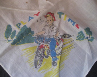 Vintage child's handkerchief, little boy on bike, 40s 50s boys handkerchief, collectible, 1403