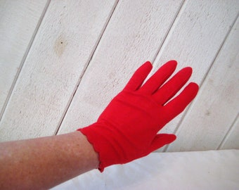 Red summer gloves, evening formal gloves, party gloves, nylon stretch gloves, mid century, size 7