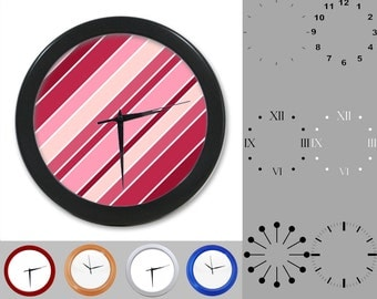 Pink Striped Wall Clock, Abstract Lined Design, Square Artistic, Customizable Clock, Round Wall Clock, Your Choice Clock Face or Clock Dial