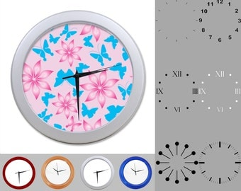 Butterfly Flower Wall Clock, Girlie Design, Artistic Bug, Customizable Clock, Round Wall Clock, Your Choice Clock Face or Clock Dial