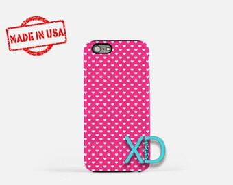 Cute Heart Phone Case, Cute Heart Pink iPhone Case, Hot Pink iPhone 7 Case, White, Hot Pink iPhone 8 Case, Cute Heart Tough, Heart iPhone 7