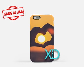 Sunset iPhone Case,  Heart iPhone Case, Love iPhone 8 Case, Beach, iPhone 6s Case, iPhone 7 Case, Phone Case, iPhone X Case, SE Case