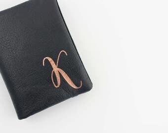 Genuine Leather Business Card Holder, Black Leather, Rose Gold Monogram, Gift Card Holder, Credit Card Organizer