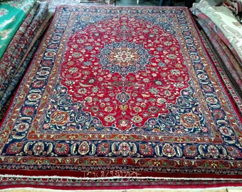 Persian Rug - 1980s Hand-Knotted, Room-Sized Mashad Rug (1340)