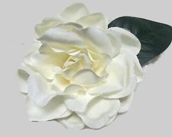 Gardenia Flower Corsage, Fabric Flower Magnetic Brooch, White Silk Flower Brooch