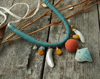Silk necklace Mononoke River, Textile fabric bead necklace, White Water green Orange, Nacre and Ceramic, Necklace with amber, Ethnic jewelry
