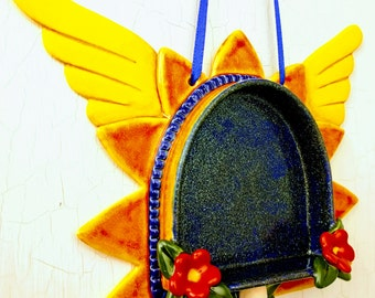 Sunburst  Wall Altar- Orange with Glitter and Wings