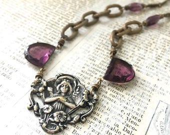 Antique Assemblage Necklace | Art Nouveau Rhinestone Purple Brass Sterling Brooch