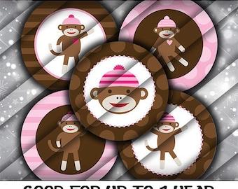 PreCut Edible Icing Image Mini Standard Cupcake Cookie Cake Pop Lollipop Toppers Birthday Shower Favors Pink Girl Sock Monkey #1006