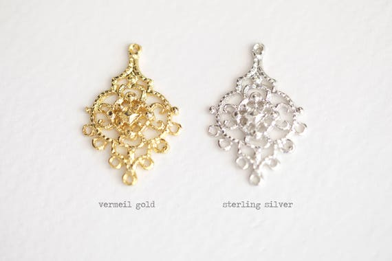 Vermeil gold chandelier earring components 7 holes 18k gold vermeil gold chandelier earring components 7 holes 18k gold over sterling silver large chandelier frame findings 2pcs mozeypictures Gallery