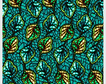 Art Glass by P&B textiles designed by Rose Ann Cook 816-Y frosted leaves teal lime gold blue green 100% Cotton sewing quilting