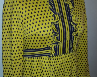 Vintage Dress 1970's Mod Mini Dress Boho Yellow and Purple Polka Dot Mini Dress 70's Carnaby Street Style  Size S Made for Jacobson's