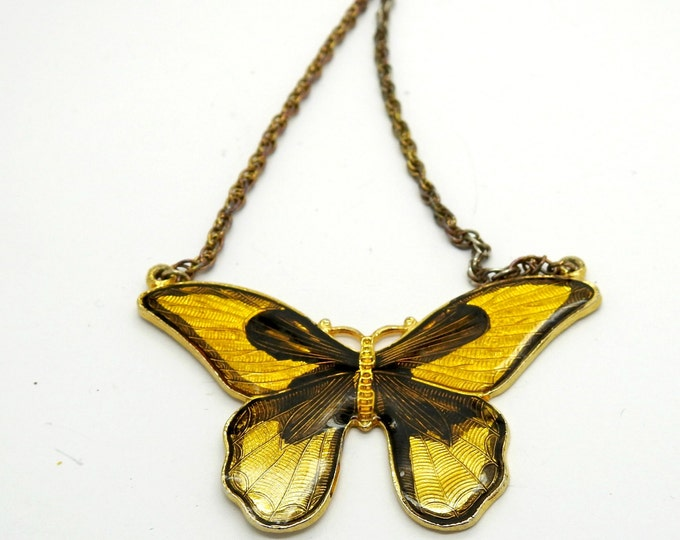 BUTTERFLY lover gift monarch theme papillon NECKLACE butter fly buterfly insect sunny YELLOW girl bright glass lemon for goddaughter from hi