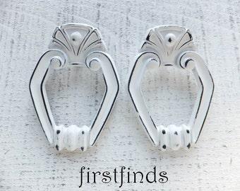 2 White Pulls Shabby Chic Drawer Ring Handles Cottage Painted Furniture Door Hardware Kitchen Cabinet Sunset Cupboard ITEM DETAILS BELOW