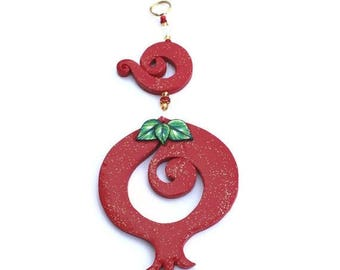 SPRING SALE Wall decor red Pomegranate, prosperity symbol, Polymer clay Pomegranate, pomegranate in red, rosh hashanah gift