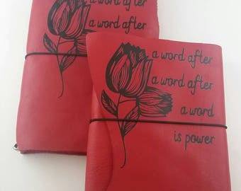 Red Leather Margaret Atwood Inspired Coloring Journal