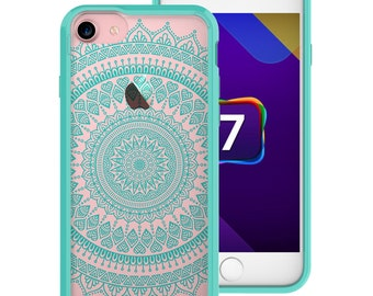 Apple iPhone 7 Case, Arclight Star Mandala Mint Green Outlined Clear Back TPU Bumper Crystal Series (One Piece) Hybrid Unique Designed