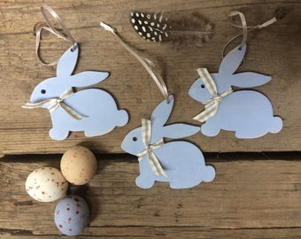 Easter Decorations - Easter Bunny - Easter Gift - Wooden Easter Decorations - Set of 3 Easter Decorations - Bunny Decorations - chalkpaint