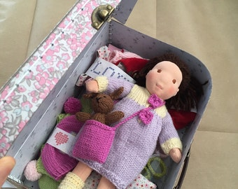 Natural fiber art suitcase doll, 26cm, to order