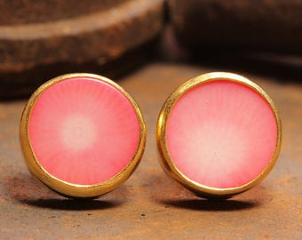 Handcrafted Artisan 24K Yellow Gold over 925 Solid Sterling Silver Natural Gemstone Coral Ancient Roman Byzantium Art Designer Stud Earrings