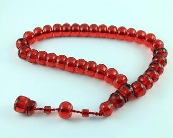 Red color 33 pcs Islamic Prayer Beads Misbaha Rosary Tesbih worry 401037
