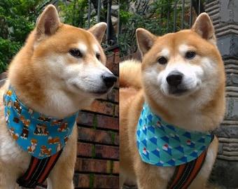 Shiba Inu Mount Fuji reversible cotton bandana Pet bandana Slip on dog collar bandana with Fuji Mountain & Red tan black Shiba Inu ( L)