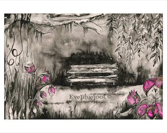 Goth Art Print, Creepy Garden Watercolor Painting, Black and White Painting, B&W Art, Black and White Wall Art, Fine Art Gloomy Illustration