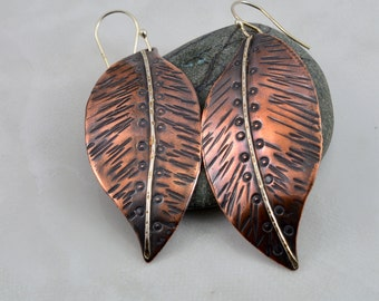 Large Textured Copper Leaf Earrings with a Soldered Sterling Silver Vein