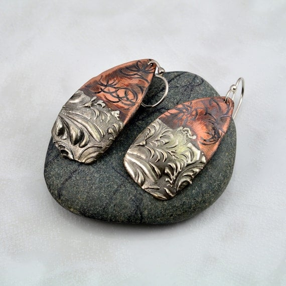 Textured mixed metal copper and silver solder shield earrings for How to solder copper jewelry