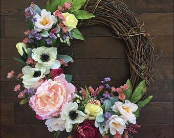 Beautiful Spring Anenome Wreath