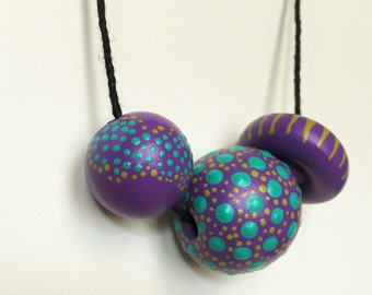 Textured CANDY TRIO Necklace - Abstract Painted Dot Jewelry in Violet, Teal and Chartreuse