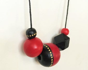 GLAM Geometric Necklace in Red  and Black - 80's Lacquered Glamour - Art Deco Gold Dot Beads