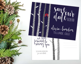 Rustic Mountain Save the Date, Birch Tree Save Date Postcard, Mountain Wedding, Colorado Wedding, Woodland, Save Date, Aspen // PRINTABLE