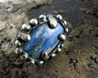 Huge LAPIS LAZULI Ring • oxidized silver ring raw stone jewelry