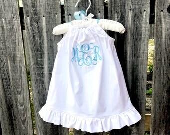 toddler girl beach outfit, monogram baby girl, flower girl dress, white pillowcase dress with light aqua monogram and ribbon, ruffle dress