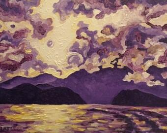 Art Print, Purple Mountain, Canadian Mountain and Ocean Art