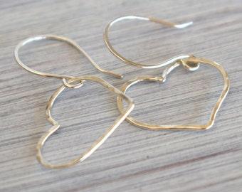 Sterling silver heart earrings, minimalist earrings, wire hearts, love earrings, silver wire jewelry, minimal