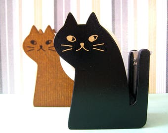"CLEARANCE Kitty cat wooden tape dispenser by Decole Japan "" BROWN"""