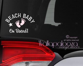 Baby on Board sticker - baby on board car decal - Beach car decal - beach bum sticker - baby sticker - baby car sticker - car decal