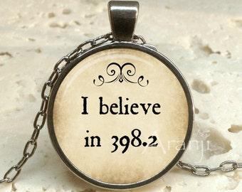 Fairy tales art pendant, I believe in 398.2 pendant, fairy tales necklace, books jewelry, library necklace, Dewey decimal, Pendant #QT118GM
