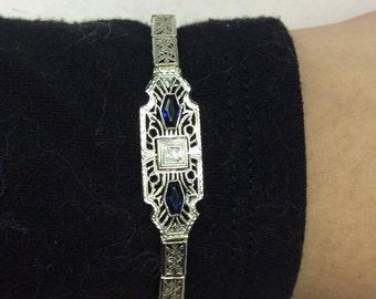 Antique 14k Edwardian Filigree Bracelet Blue Faux Sapphires With Diamond Center