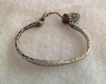 Vintage LUCKY BRAND CUFF Bracelet in Antique Silver Tone With Charms