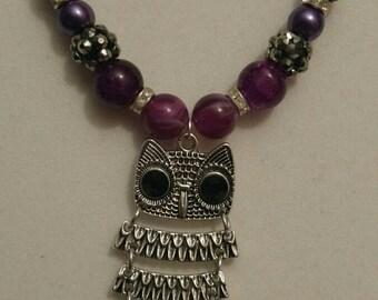 Purple Owl Pendant