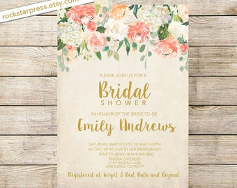 Floral bridal shower invitation Shabby Chic printable wedding shower invitation Digital Invitation _1288